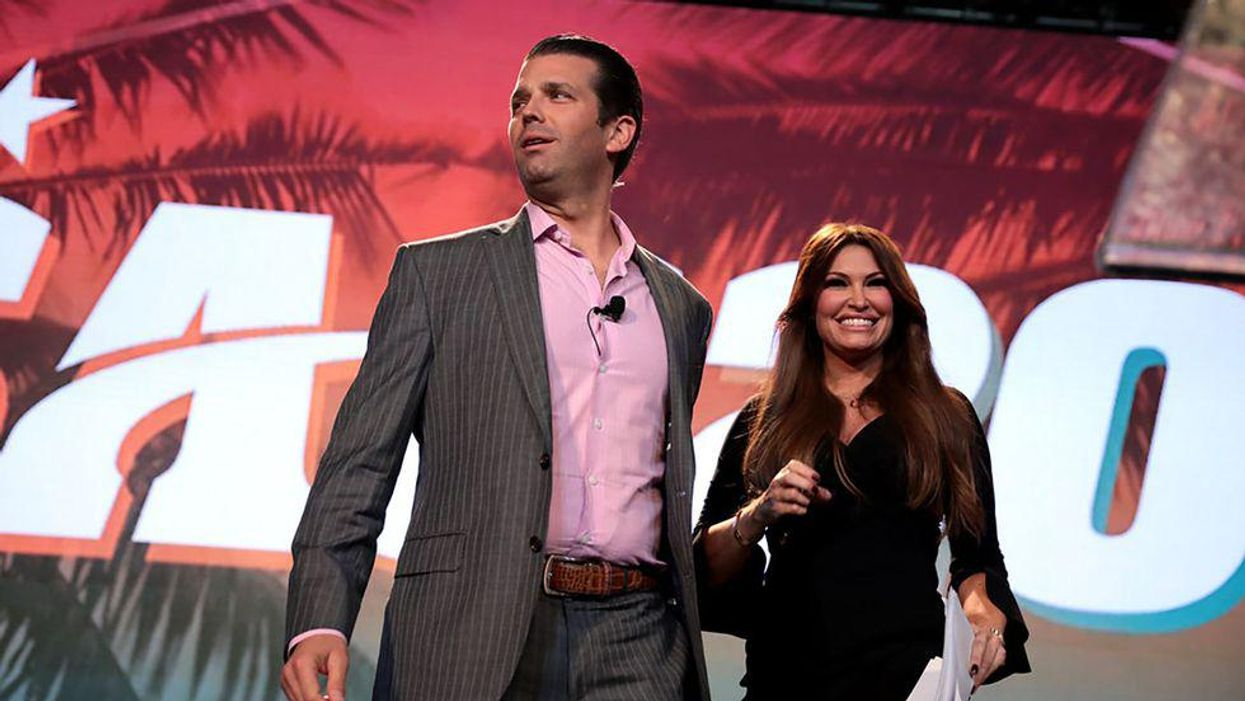 Donald Trump, Jr. and Kimberly Guilfoyle speaking with attendees at the 2018 Student Action Summit hosted by Turning Point USA at the Palm Beach County Convention Center in West Palm Beach, Florida.