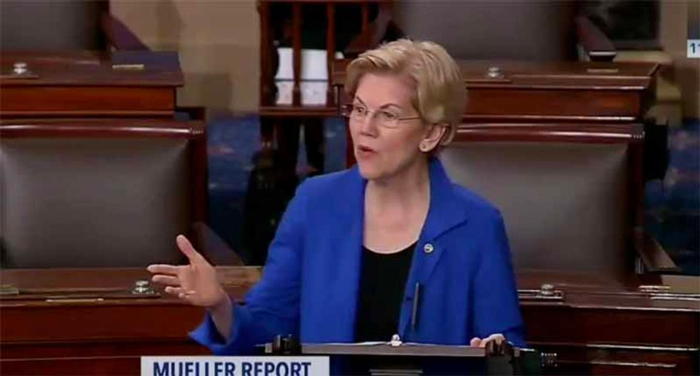 Watch: Elizabeth Warren schools Mitch McConnell on the Constitution by reading directly from Mueller report on the Senate floor