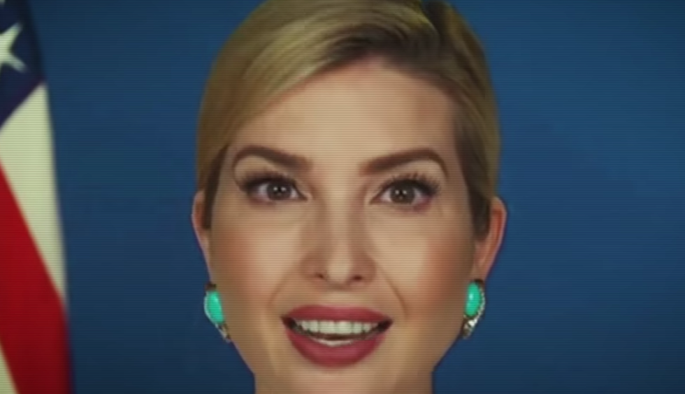 A brilliant video skewers Ivanka Trump by contrasting her flowery speech with the brutal reality under her father