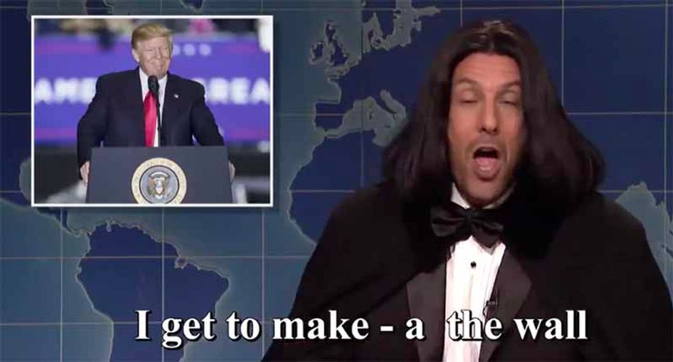 'I get to make the wall — Putin makes me his beetch': Adam Sandler's 'Opera Man' returns to SNL after 24 years to excoriate Trump, Biden
