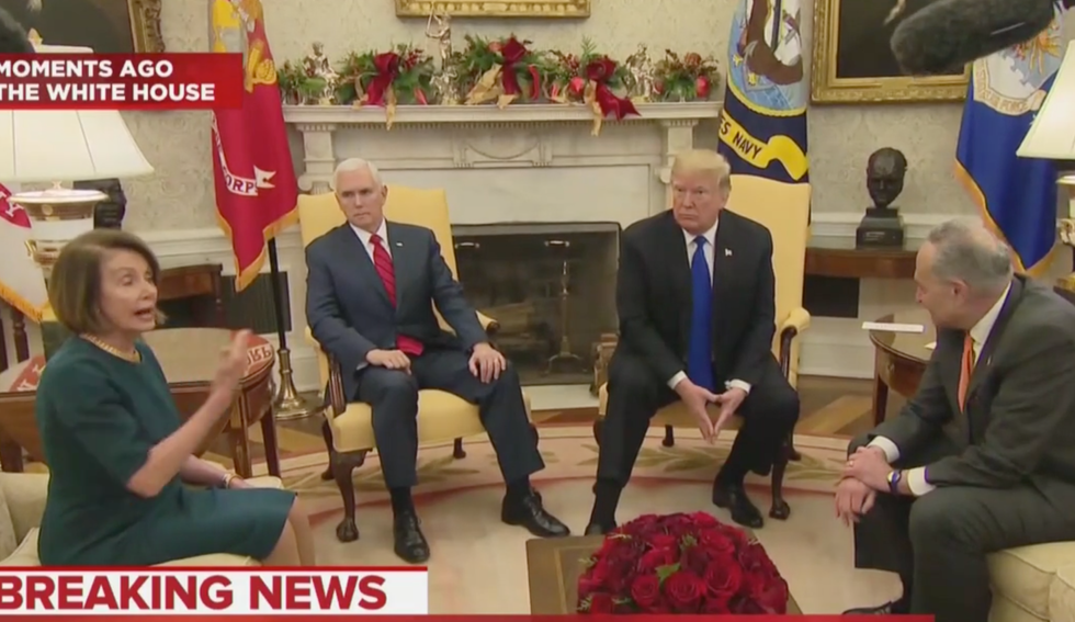 'That was wild': Pelosi and Schumer corner Trump as he spews lies about the border wall  -  and insists he's 'proud' to shut down the government