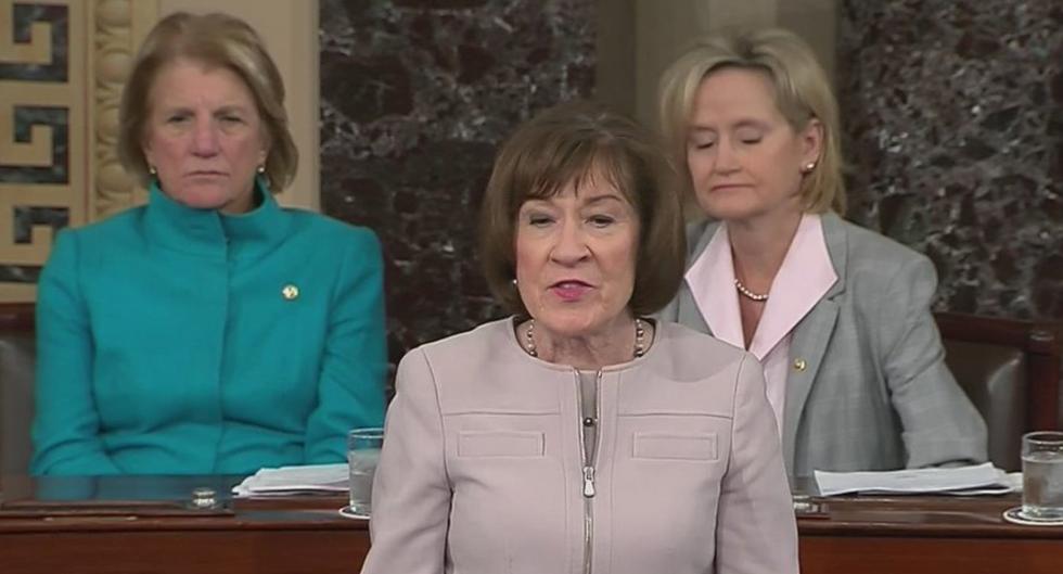 Flanked by Two Republican Women Senators, Susan Collins Announces Support for Brett Kavanaugh