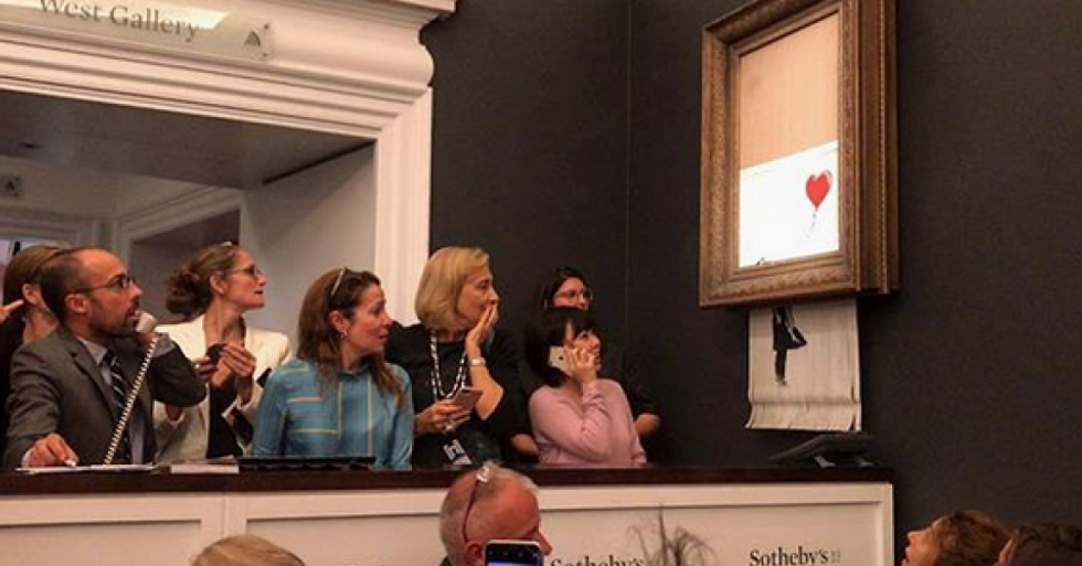 'Going, Going, Gone...': Banksy Shreds the Top 1 Percent with Self-Destructing $1.4 Million Artwork