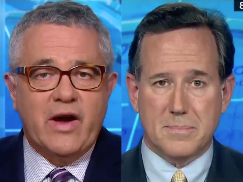 'Making excuses for paying off porn stars': CNN's Jeffrey Toobin blasts Rick Santorum's hypocritical defenses of Trump