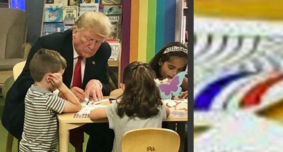 Trump Managed to Botch a Photo-op with Ohio Kids by Coloring His American Flag Incorrectly