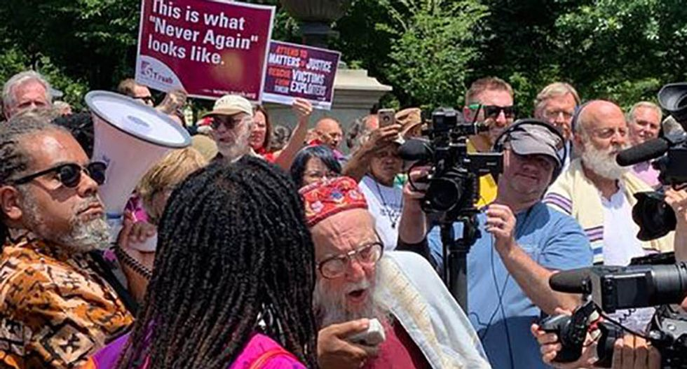 Hundreds of religious leaders demonstrate at White House gates to demand Trump and his enablers 'repent of their sins'