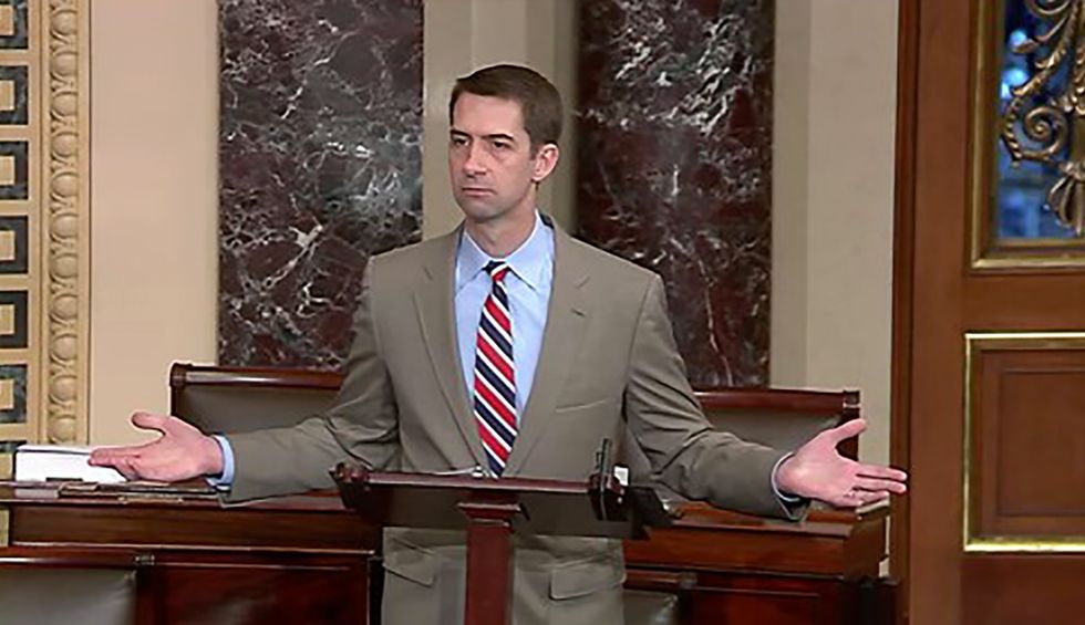 Republican Sen. Tom Cotton says only deranged people don't seen that Greenland is 'vital'