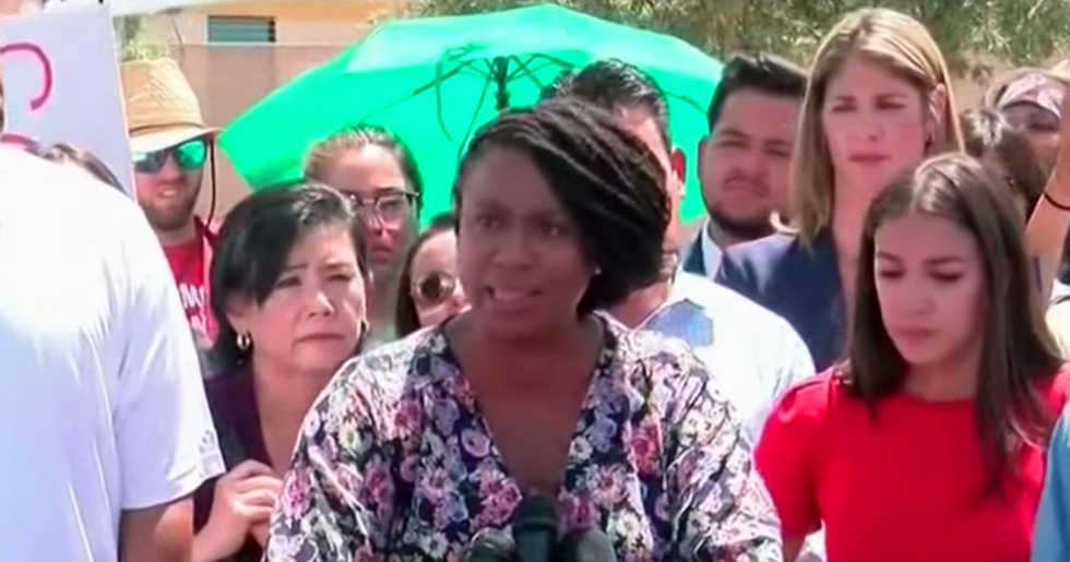 'Keep yelling!' Democratic Rep. Ayanna Pressley shouts down protesters while exposing abusive migrant camps