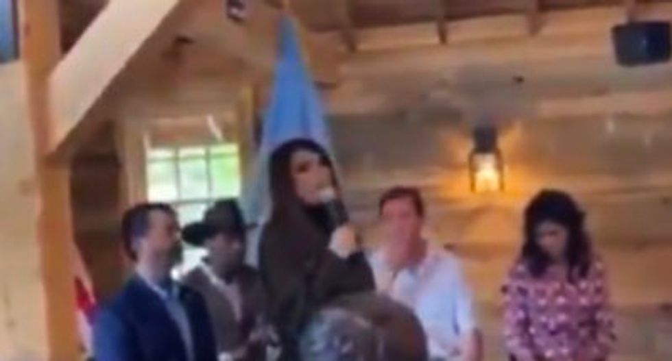 WATCH: Maskless Kimberly Guilfoyle gives speech to Trump supporters the day before her positive COVID test was announced