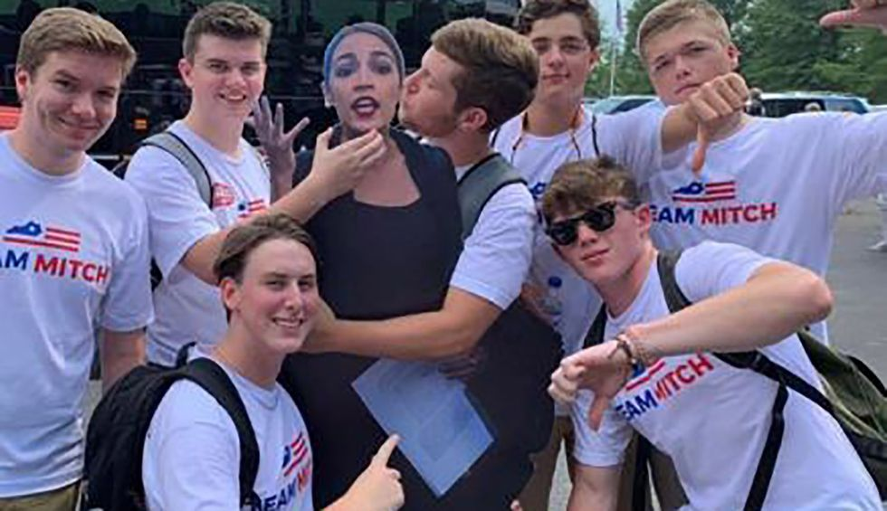 Ocasio-Cortez responds to photo of McConnell supporters groping cutout: 'Is this just standard culture of Team Mitch?'