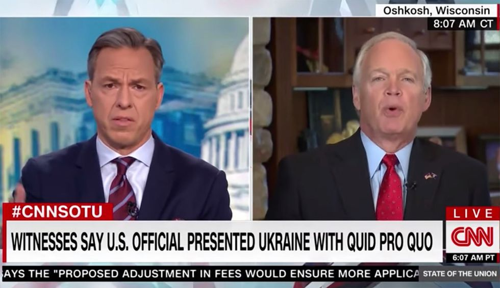 'That's not true': CNN's Jake Tapper busts GOP's Ron Johnson for parroting Trump's Ukraine lies during frantic interview