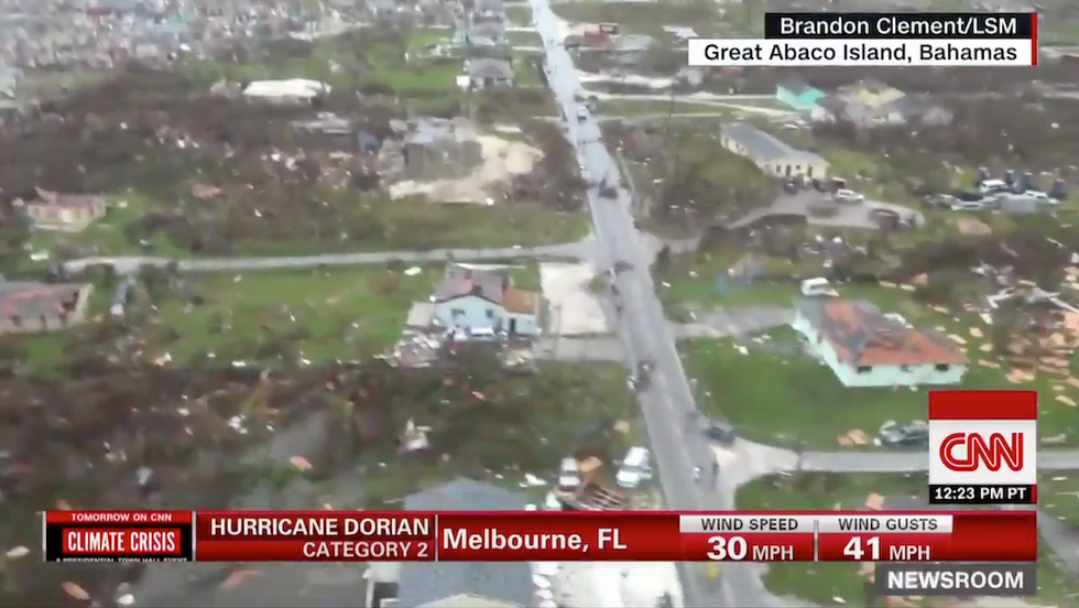 Stunning aerial footage from CNN shows the devastating Hurricane Dorian damage in the Bahamas