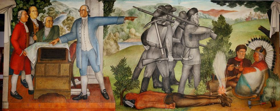 These activists argue a mural showing a dead Native American is traumatizing —but they're missing the artwork's point