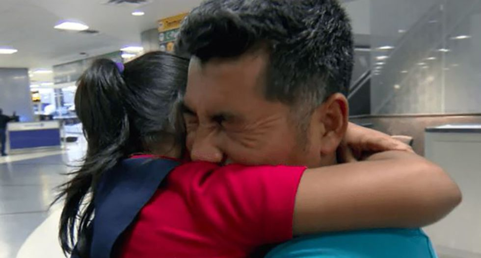 7-year-old girl reunited with her dad 326 days after the Trump administration tore them apart