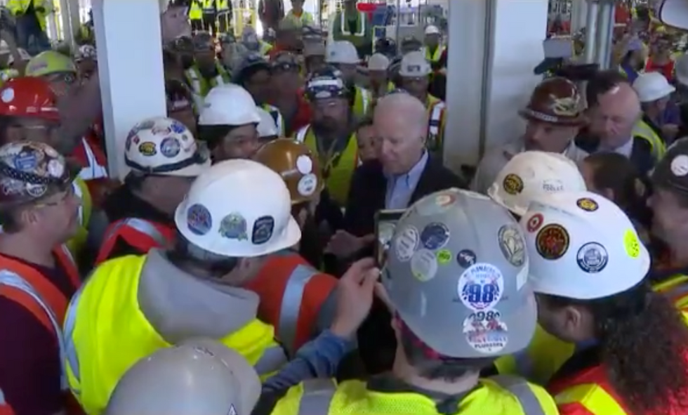 'You wanna go outside with me?' Joe Biden gets riled up at union worker after dispute on gun control