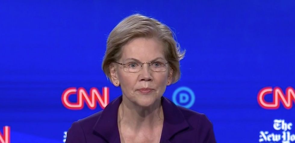 Sen. Elizabeth Warren brings the fire and calls out anyone wavering on taxing billionaires
