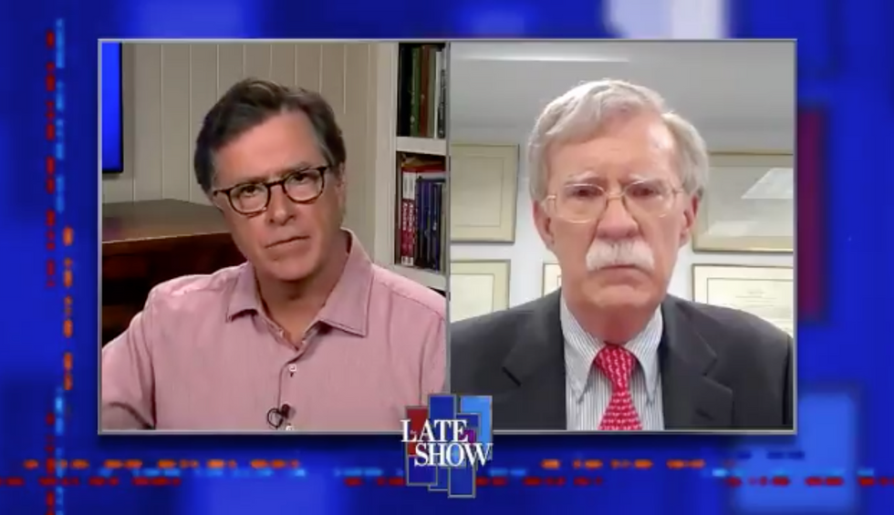 'You've really insulted me': Stephen Colbert brilliantly rakes John Bolton over the coals for being 'naïve'