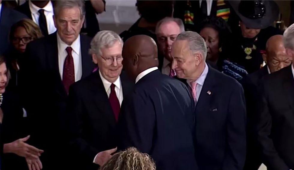 The man who went viral after snubbing McConnell at Elijah Cummings' memorial blamed Senate majority leader for holding up veterans benefits
