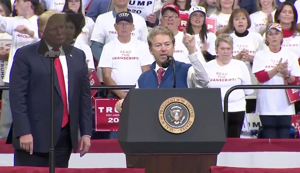 Rand Paul demands media out CIA officer at Trump rally: 'We now know the name of the whistleblower'