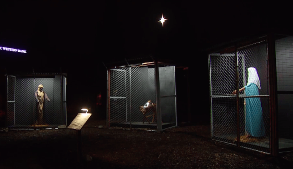 Methodist church's nativity scene depicts Jesus, Mary and Joseph as separated and caged family