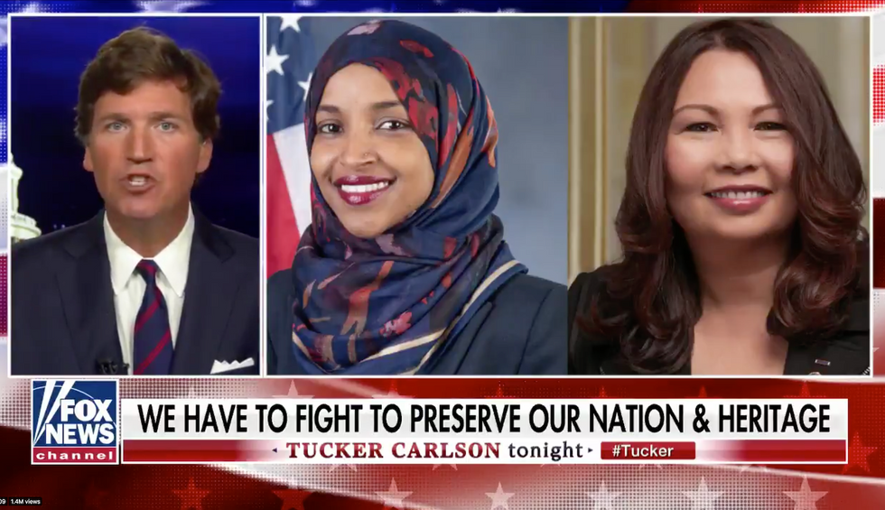 Fox News' Tucker Carlson horrifies viewers with a message disturbingly similar to a white supremacist slogan