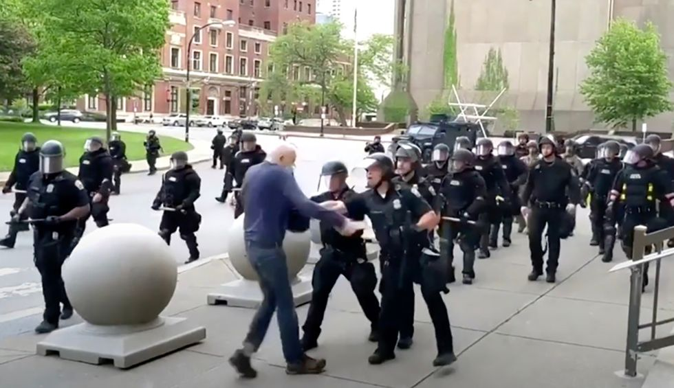 'Despicable': Trump slammed for absurd smear on 75-year-old hospitalized man shoved by Buffalo cops who left him bleeding