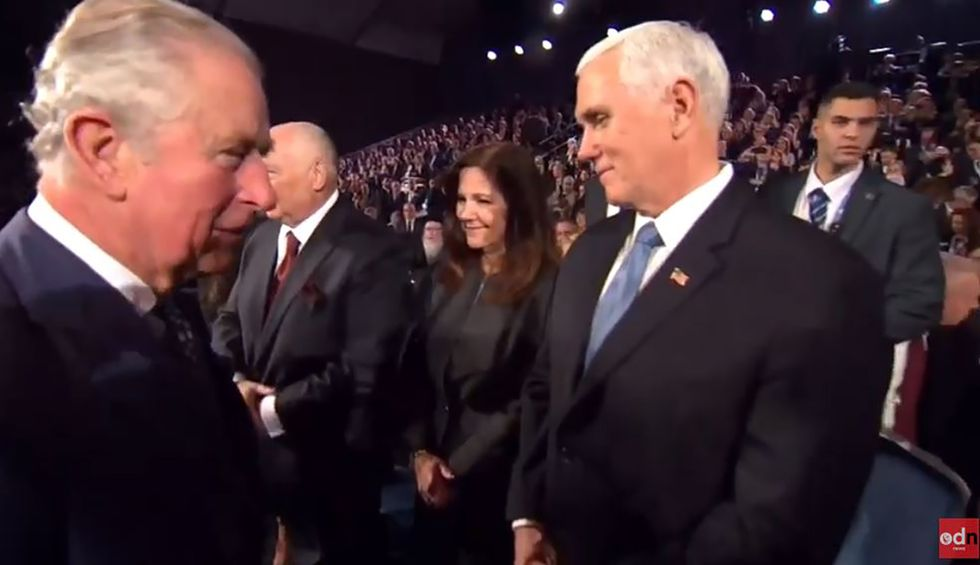 Watch: Prince Charles appears to snub Mike Pence at World Holocaust Forum