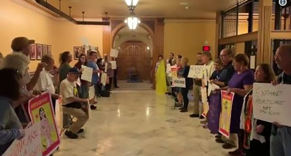 Kansas state Republicans remove press and protestors to silence demands for Medicaid Expansion