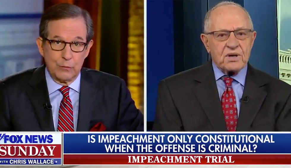 Chris Wallace confronts Dershowitz with clip of his own 1998 impeachment argument: 'Exactly the opposite of what you're arguing today'
