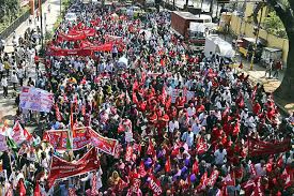 Here's what a real strike looks like: 150 million say no to despotism in India