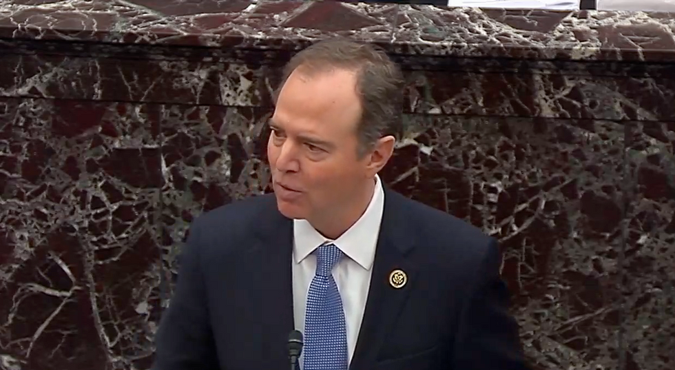 'You can't make this up!': Senate erupts in laughter when Adam Schiff reveals DOJ lawyers just completely contradicted Trump's impeachment defense
