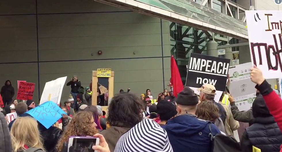 'Lock him up!' Watch protestors flip the script on Trump as he speaks at New Orleans Convention Center