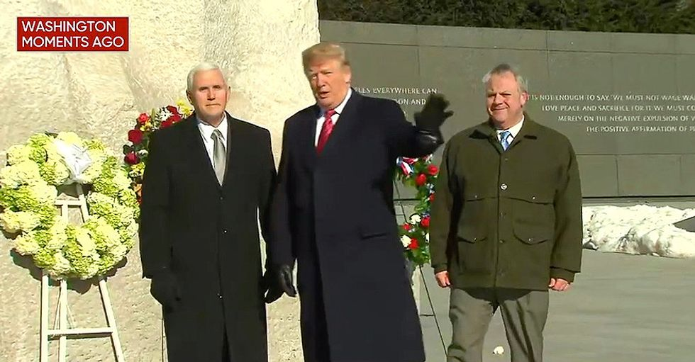 Trump and Pence spend 'about a minute or two' at MLK memorial after facing storm of media criticism