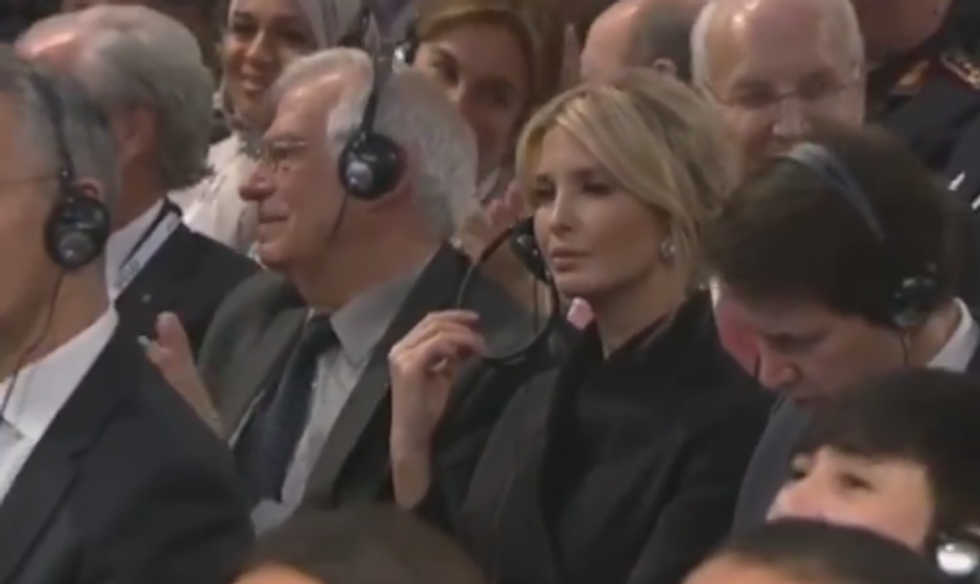 Watch Ivanka Trump sit in stony silence as Germany's Angela Merkel rips her father's trade war with Europe