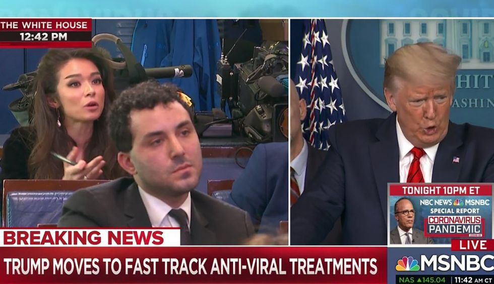 OAN correspondent goes 'full Q in the briefing room' — tells Trump the media has 'teamed up' with foreign state propaganda