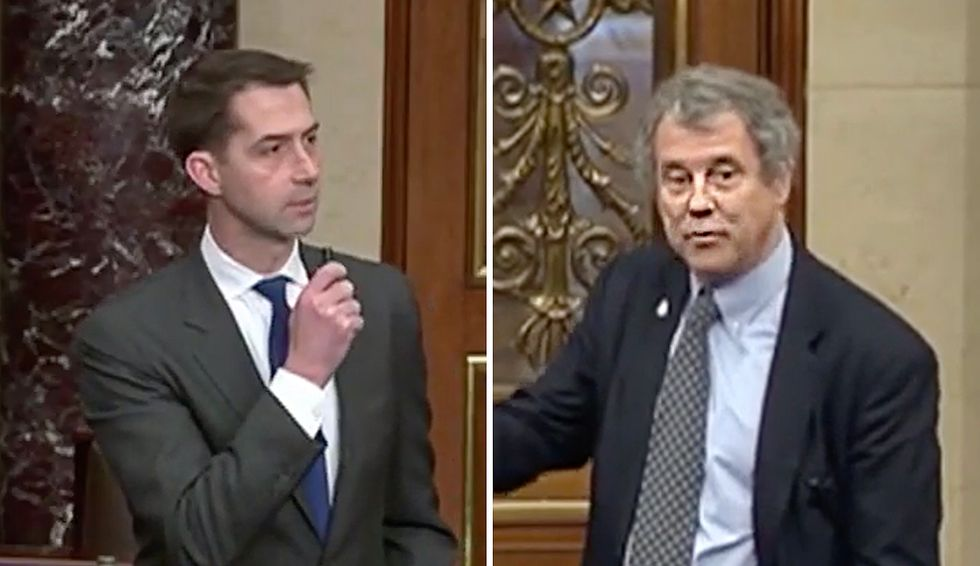 Sherrod Brown accuses Tom Cotton of doing 'the president's bidding' during contentious Senate floor debate