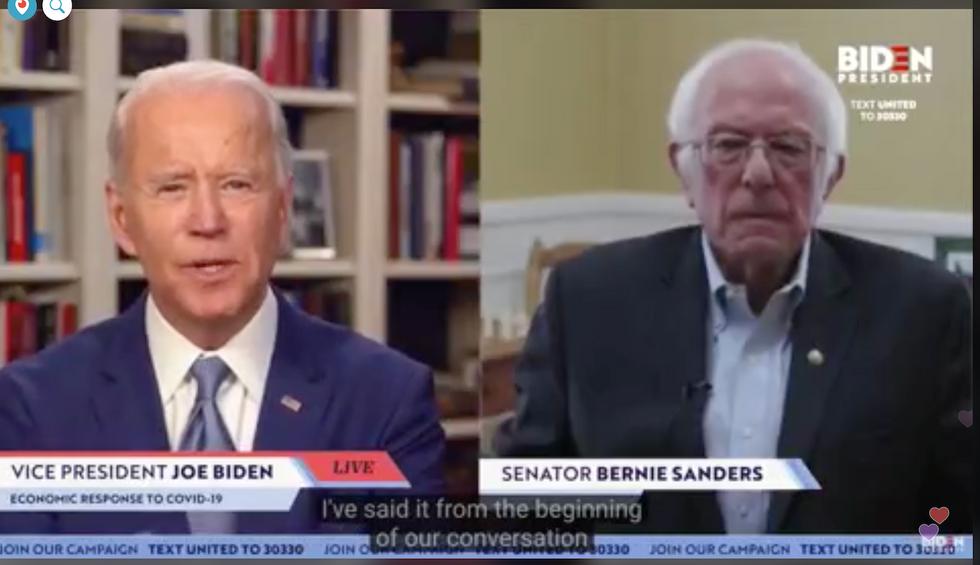 Bernie Sanders just endorsed Joe Biden in a remarkable livestream meeting