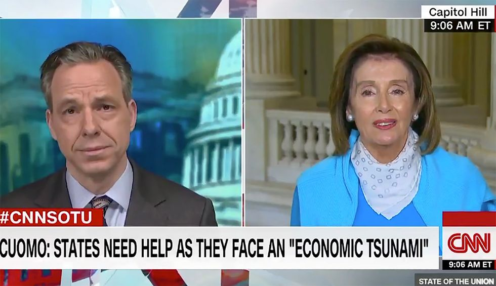 Nancy Pelosi tells CNN's Jake Tapper to 'just calm down' after host asks House speaker if she made a 'tactical mistake' in COVID-19 relief fight
