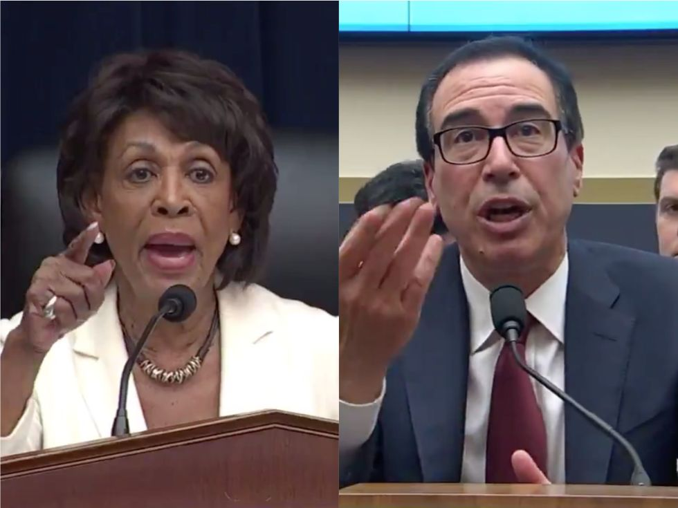 'You're ordering me to stay here!': Rep. Maxine Waters gets into heated exchange with Steve Mnuchin as he tells her to bang her 'gravel'