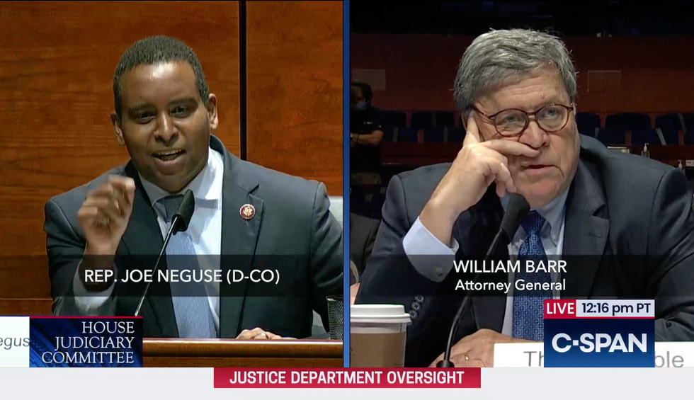 Bill Barr squirms and dodges as Rep. Neguse calls out his repeated lies
