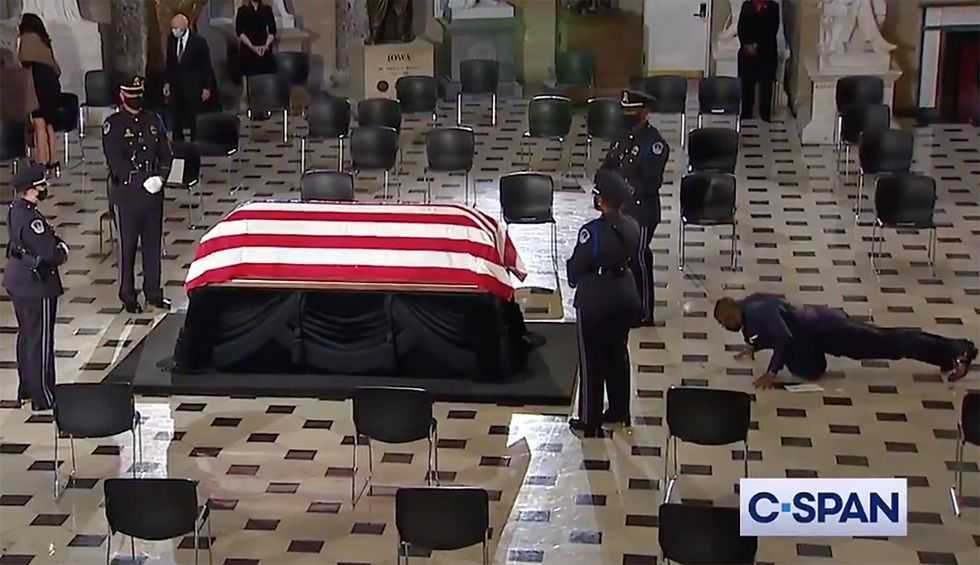 Ruth Bader Ginsburg's personal trainer honors her memory by doing 3 pushups in front of her casket