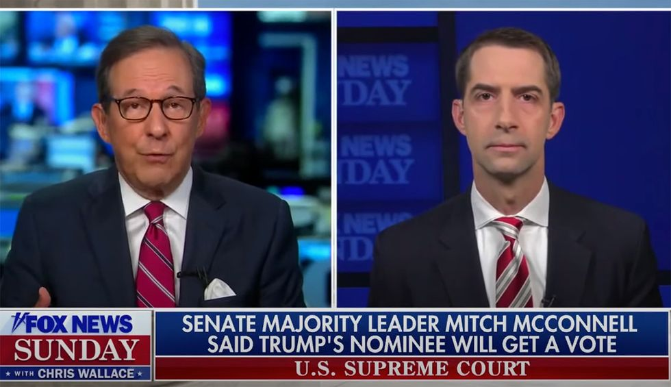 'You don't see any hypocrisy?' Chris Wallace flattens Trump Supreme Court shortlister Tom Cotton by replaying his Merrick Garland speech