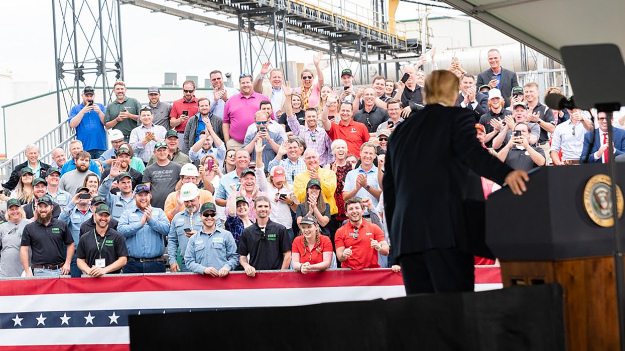 President Trump speaks to crowd of supporters at the Southwest Iowa Renewable Energy facility in Council Bluffs, Iowa.