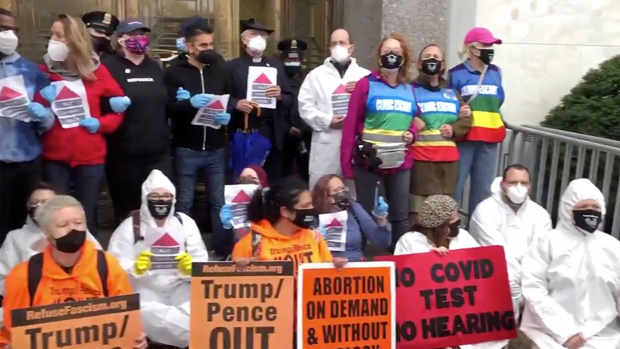 Watch: Protesters block entrance of Senate building as first Barrett confirmation hearing begins