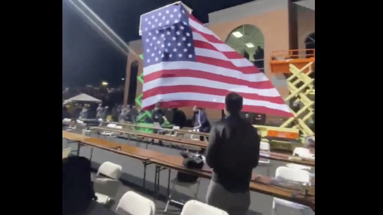 Bald eagles soar over Biden — while giant American flag collapses in front of Trump