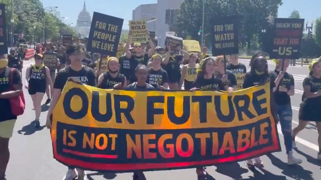 'Can you hear us, Joe?' Sunrise youth barricade White House to denounce climate compromise