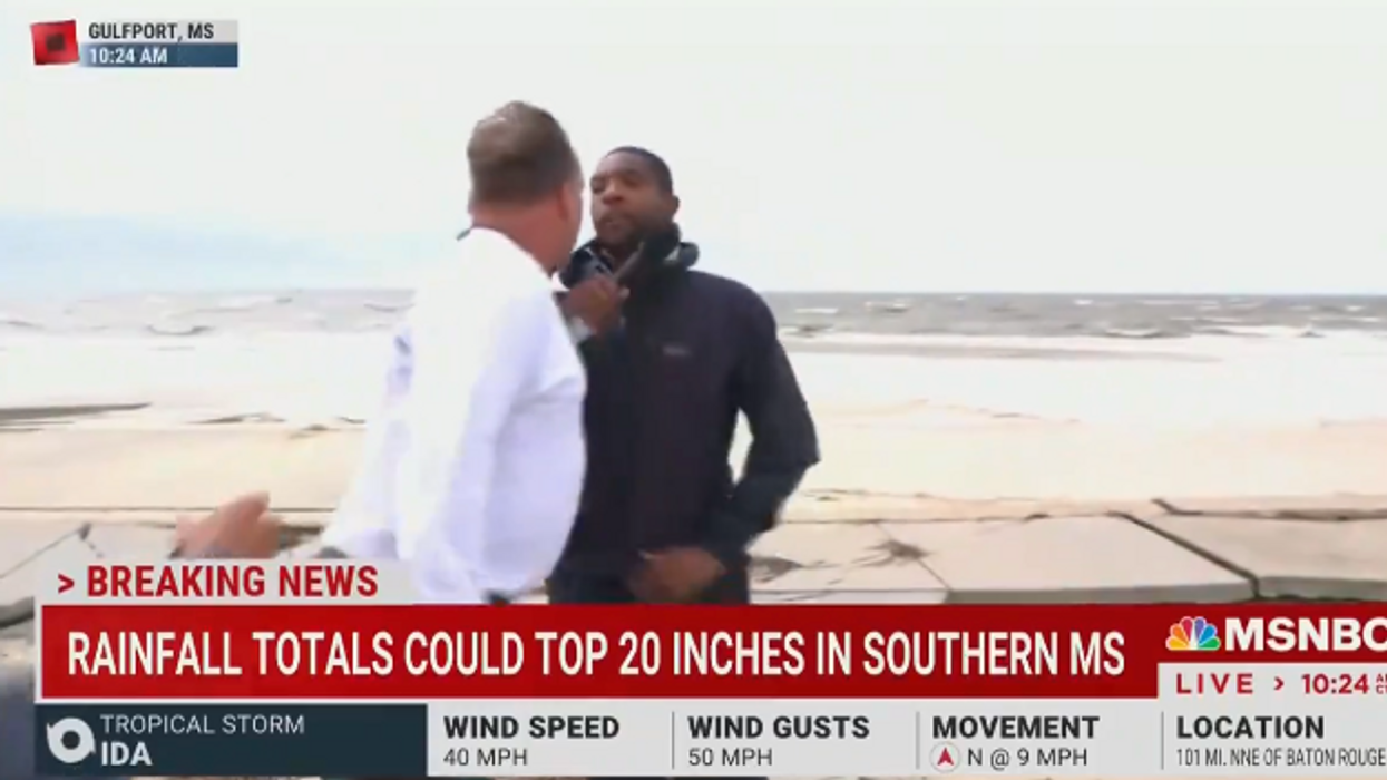Watch: NBC News reporter angrily confronted by 'some wacky guy' while covering Hurricane Ida in Mississippi