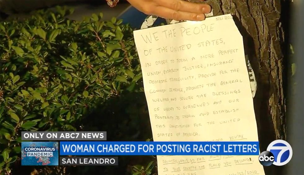 California woman arrested after taping 'go back to your land' to Asian American neighbors' doors