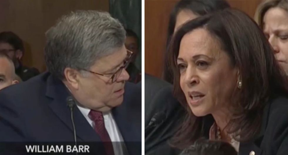 Watch Kamala Harris expertly nail Barr's 'clear conflict of interest' as he tries to deflect blame on Mueller and Rosenstein