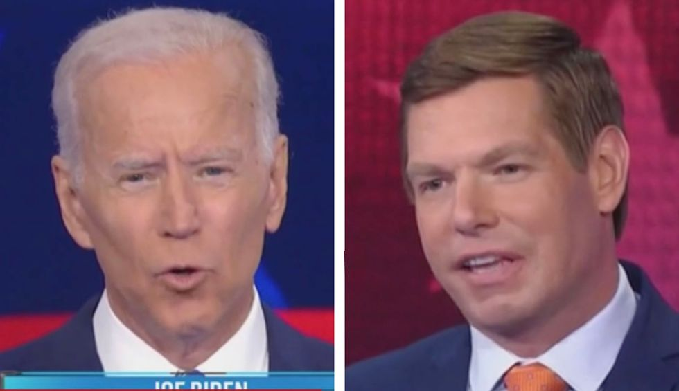 Rep. Swalwell quoted Biden from 32 years ago to demand he 'pass the torch' to the next generation. The VP's response was telling